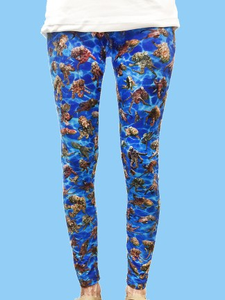 ladies leggings with dark blue ocean background with numerous octopus underwater photos