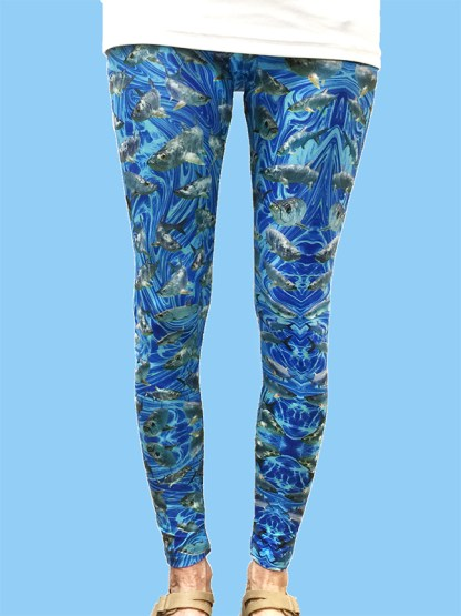 unique women's leggings with a dark blue ocean background with numerous tarpon fish
