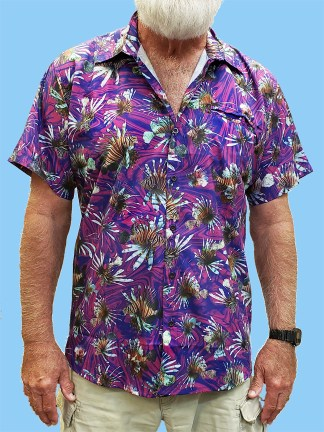 men's dress shirt with many different pictures of lionfish with a purple swirl ocean background