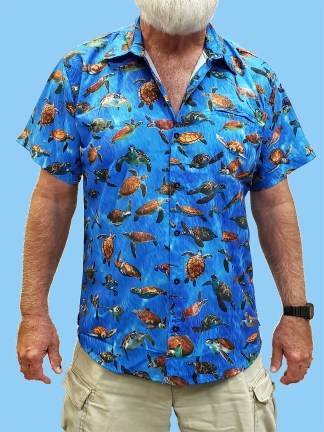 men's dress shirt with many varieties and different photos of turtles on a blue ocean background