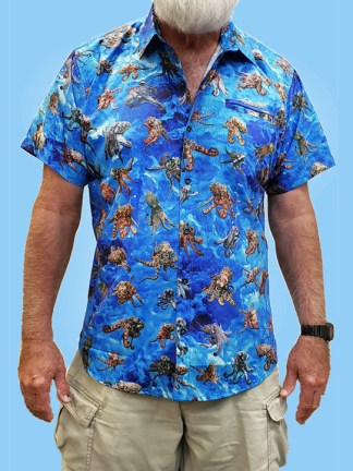 men's dress shirt with many large octopus pictures all over the shirt with a light blue ocean background
