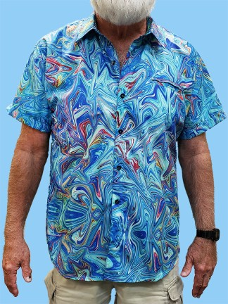 men's dress shirt with a multi colored ocean swirl design with a primary blue background