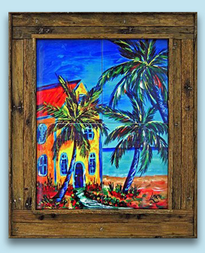 Framed Ceramic Tiles in our Lobster Trap Frames