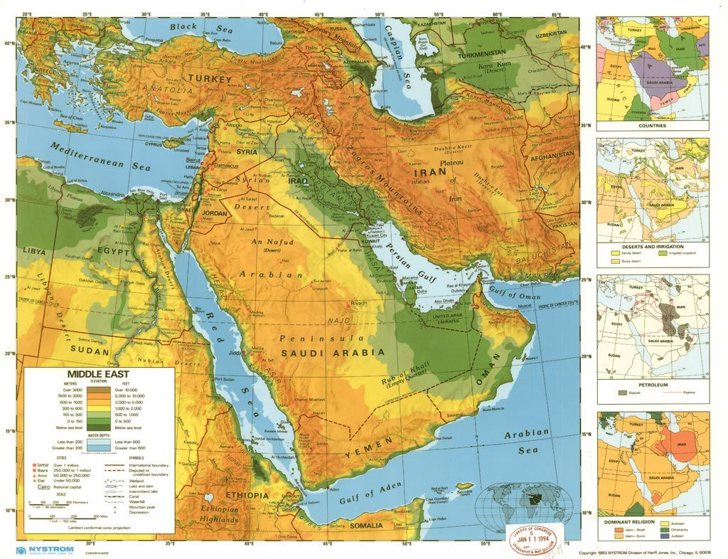 Physical Map Of Middle East Asia