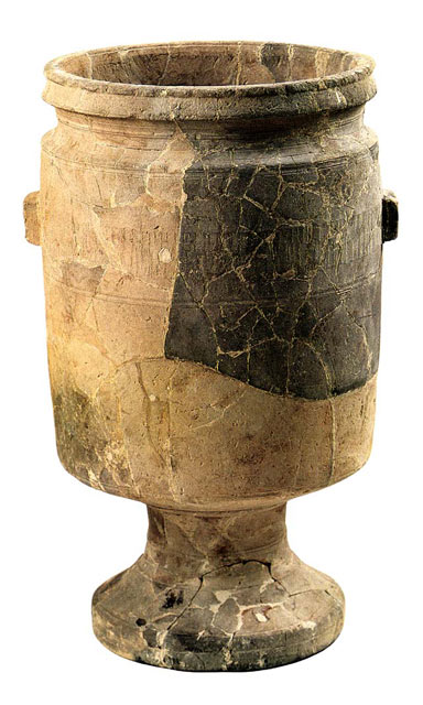 Large limestone goblet dating to the 1st C. CE from Qumran. Height 72 cm (28 1/4 in.), diameter 38.5 cm (15 1/8 in.) Courtesy of the Israel Antiquities Authority (37). This large goblet-shaped vessel was produced on a lathe, probably in Jerusalem, and is extremely well crafted. It is surprising that an ancient lathe was capable of supporting and working such a large and heavy stone block. More at: http://www.loc.gov/exhibits/scrolls/art2.html