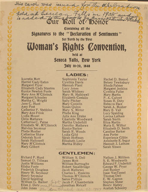 The Declaration Of Sentiments By The Seneca Falls Conference 1848