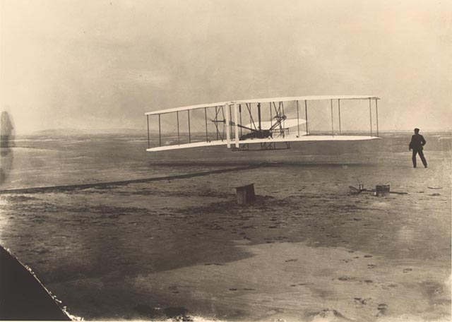 Wright Bros. flyer at Kittyhawk, first flight
