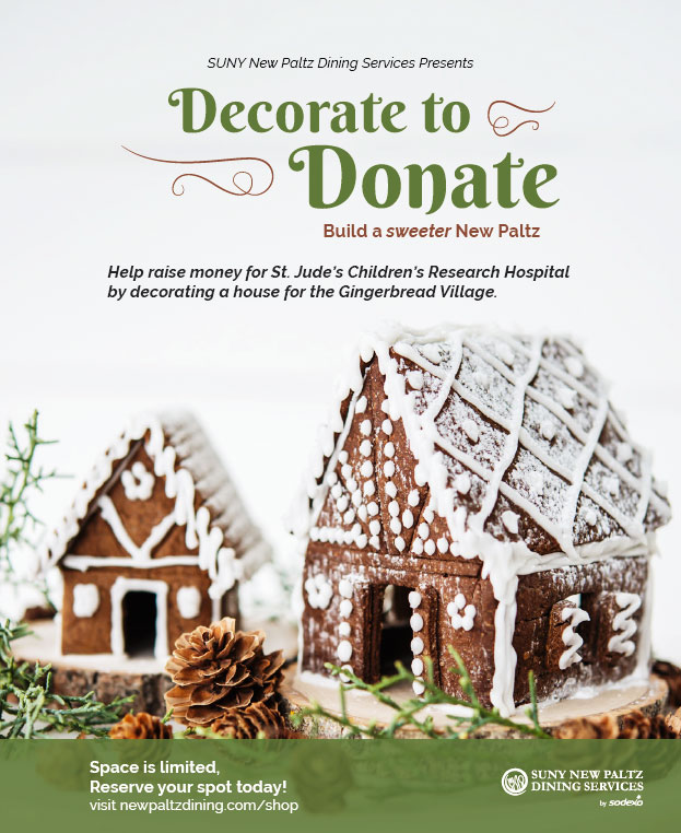 Decorate To Donate Gingerbread decorating fundraiser event flyer