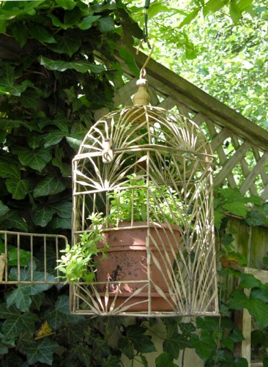 An ornate birdcage houses a potted plant. Elegant.