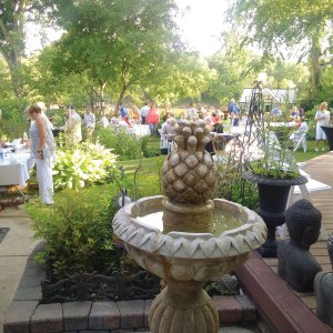 The garden party for WSO. Tim loves to share his garden.