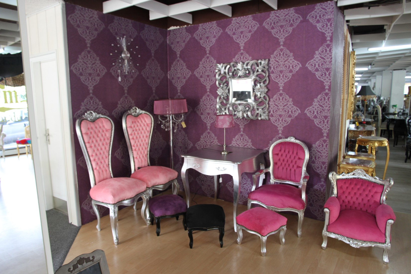 pink salon chairs army green chair covers casa padrino luxury baroque medallion