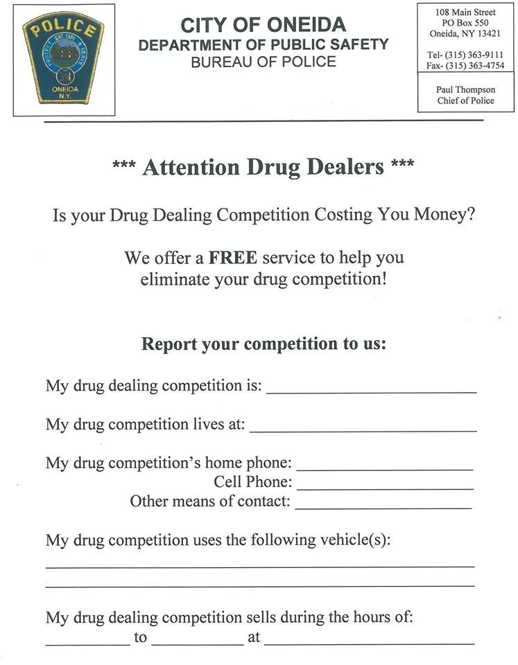 Oneida Police to drug dealers: 'We offer free service to