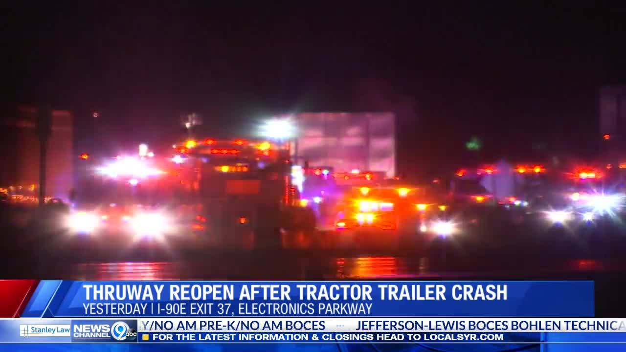 Thruway reopens after tractor trailer rollover at Electronics