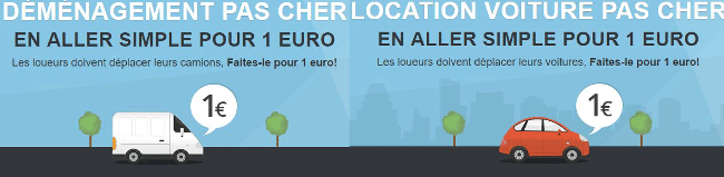 Location véhicules 1 euro
