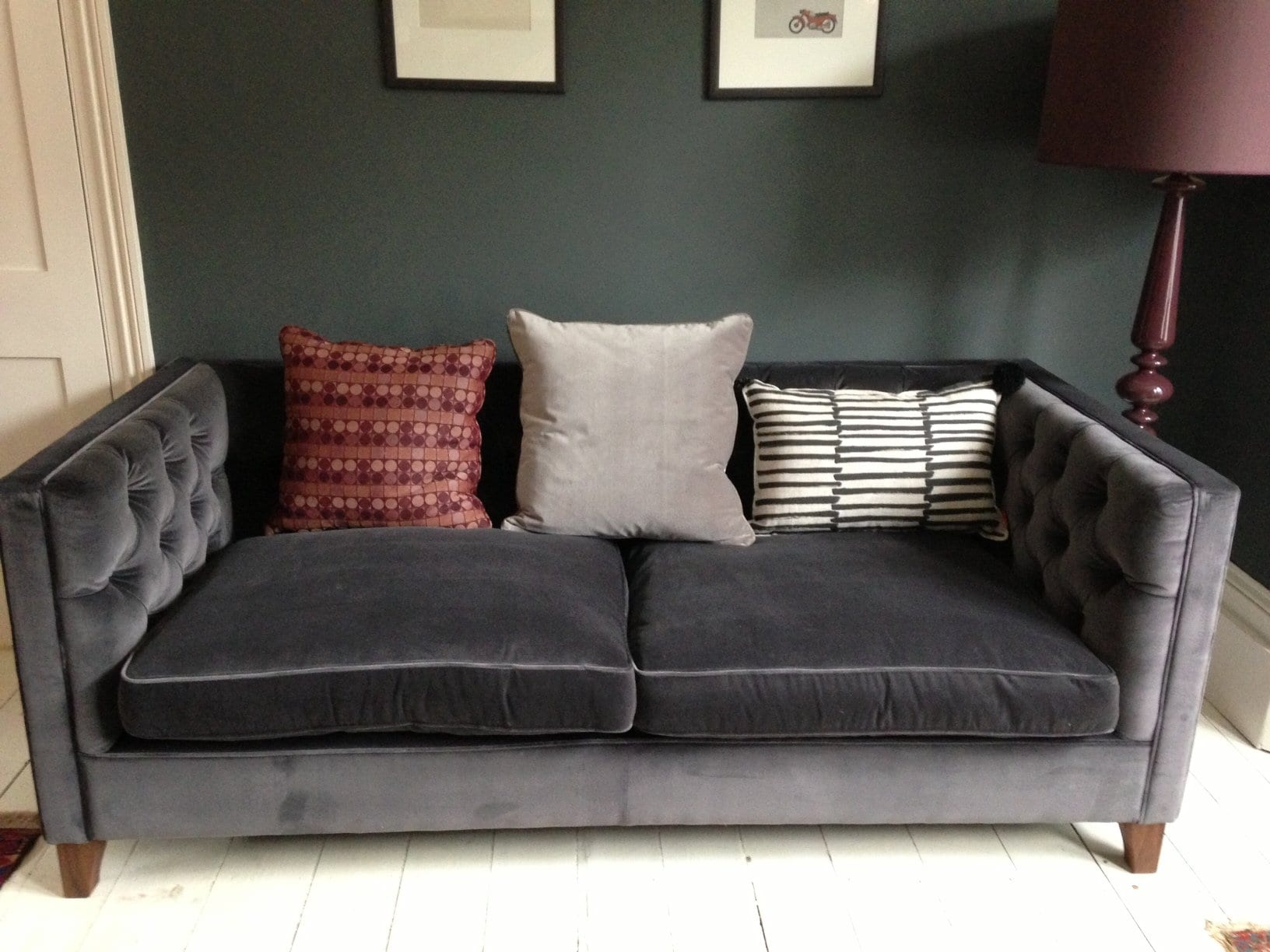 velvet grey tufted sofa anthropologie emerald green  loccie better homes gardens ideas