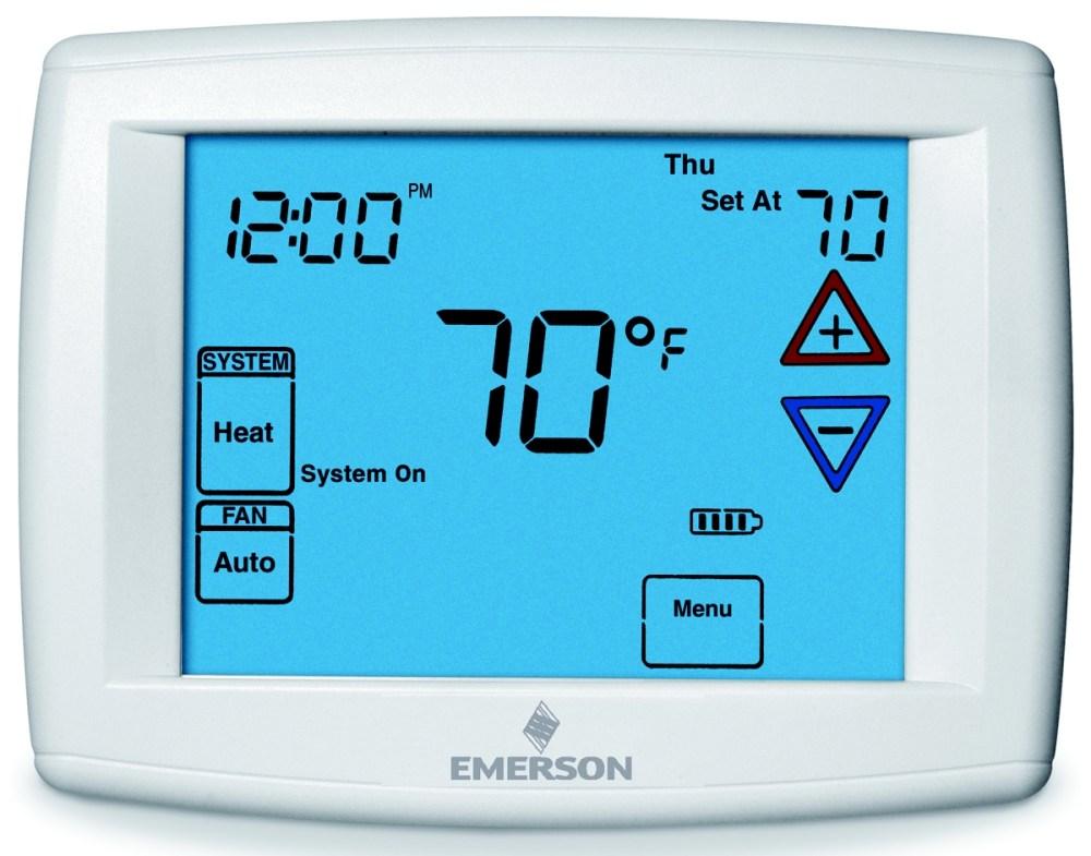 medium resolution of emerson big blue 12 display touchscreen programmable fan remote sensor digital thermostat range 45 99 f