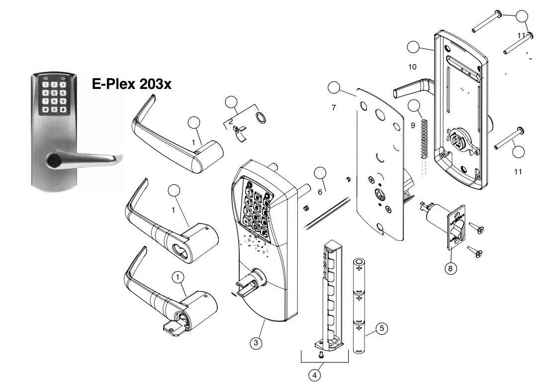 EPLEX 2000 Series Parts: Assured Lock Keyless & Locker