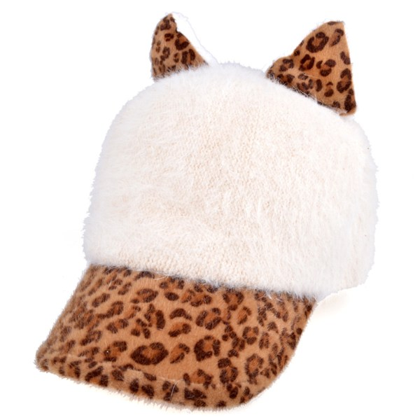 Locomo Women Girl Cute Cat Ear Leopard Pattern Baseball