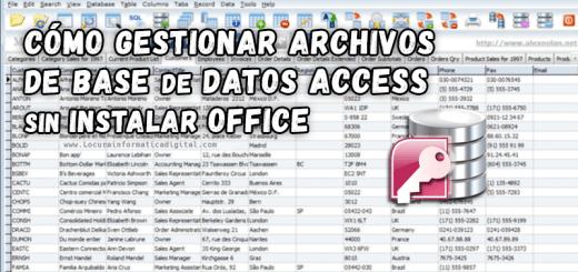 cómo gestionar archivos de base de datos access sin instalar office