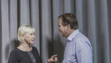 Zweeds minister van Buitenlandse Zaken Margot Wallström met eerste minister Stefan Löfven