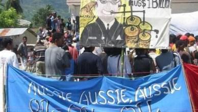 Oost-Timorezen houden een zitstaking van drie dagen voor de ambassade van Australië in de hoofdstad Dili
