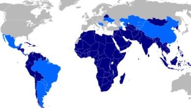 De westerse massamedia hebben het om de haverklap over 'de internationale gemeenschap', dit en dat. Meestal bedoelen ze daar de westerse landen mee, 'those that matter'. Dat de wereldgemeenschap het meermaals niet eens is met de westerse agenda, zal je niet geweten hebben; (donkerblauw = lidstaten van de beweging van niet-gebonden landen, lichtblauw = landen met waarnemerstatus)
