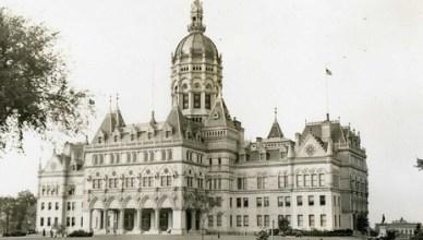 Het parlementsgebouw van de staat Connecticut in de hoofdstad Hartford (foto genomen in 1938)