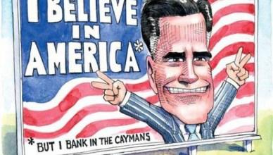 'Ik geloof in Amerika' * maar ik bankier op de Kaaimaneilanden - De Kaaimaneilanden, ten westen van Jamaica, ten zuiden van Cuba, zijn Brits grondgebied, dat drie bronnen van inkomsten heeft: toerisme, registratie van schepen die de wetgeving van hun eigen land omzeilen (o.a. 15 schepen van Griekse tycoons) en 'financiële diensten' (een eufemisme voor - je raadt het al - massale belastingontduiking