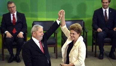 President Rousseff bij de ondertekeningsceremonie op 16 maart 2016 voor de benoeming van Lula da Silva tot haar kabinetschef