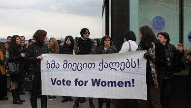 In de Georgische hoofdstad Tbilisi betogen deze vrouwen voor gelijke rechten