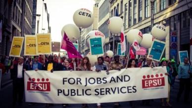 Net als in andere Europese hoofdsteden werd in Brussel betoogd tegen CETA en TTIP
