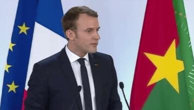 President Macron tijdens zijn toespraak in Ouagadougou