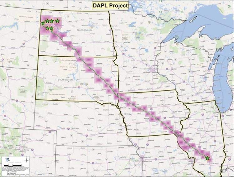 De Dakota Access Pipeline is 1886 km lang en doorkruist vier staten en de Missouri, de tweede grootste rivier van de VS