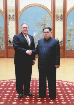 Mike Pompeo with Kim-Jong-Un