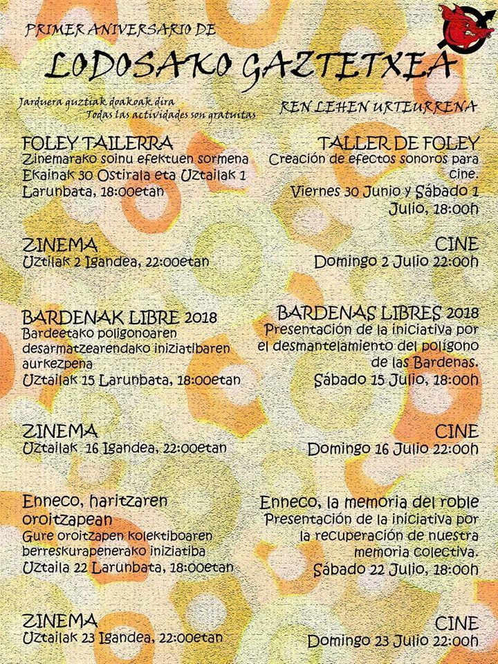 Programa de actividades que ha organizado el Gaztetxe de Lodosa