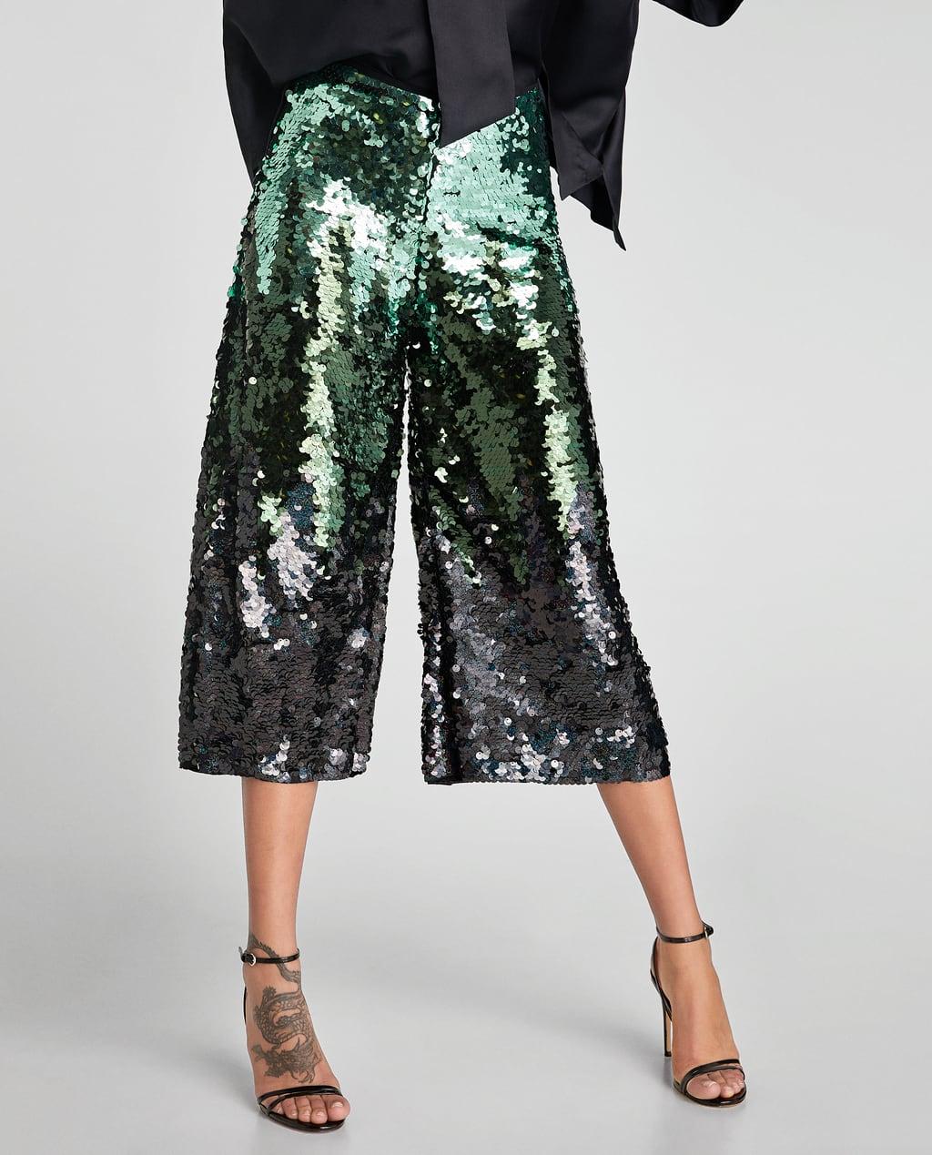 pantalon-large-sequins-vert-zara