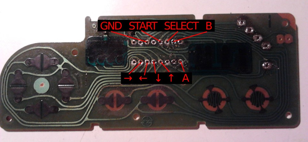 medium resolution of empty circuit board of the nes controller pins for the buttons are marked in red