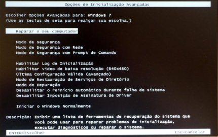 Menu de reparo do Windows 7