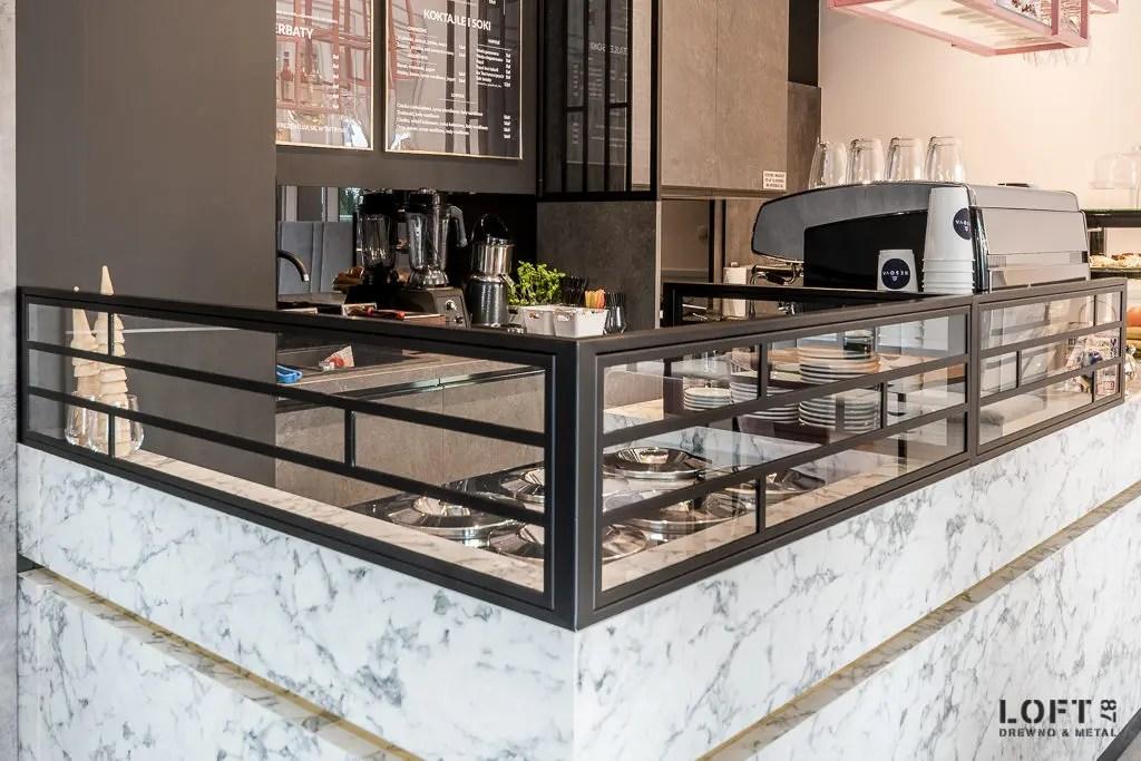 Realizacja Loft 87 kawiarnia Besova bar detale
