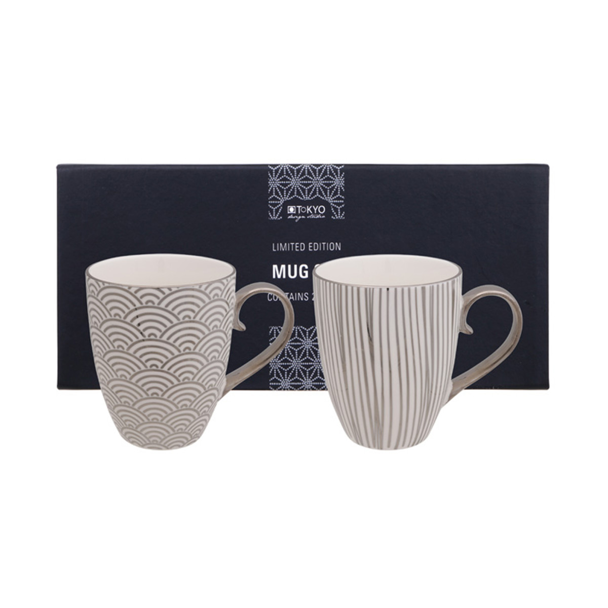 TOKYO DESIGN – LIMITED EDITION – NIPPON PLATINUM MUG SET 2PCS 380ML STAR & LINES