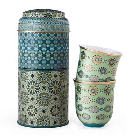 Images D'Orient | Andalusia | Scatola Di Latta Con 2 Tazze Da Caffè In Porcellana 90 Ml