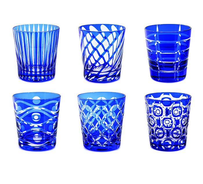 Livellara Tumbler 300 Ml Set 6 Bicchieri In Cristallo Luxury Fatti A Mano BLUE