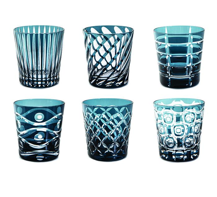 Livellara Tumbler 300 Ml Set 6 Bicchieri In Cristallo Luxury Fatti A Mano INK BLUE