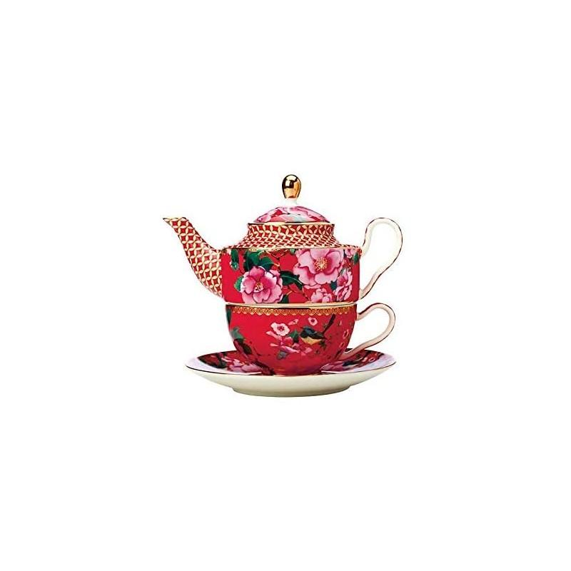Maxwell & Williams Contessa Teiera In Porcellana Rossa Con Decorazione Fiori Per Una Persona