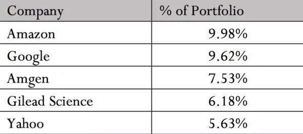 Amazon 9.98%, Google 9.62%, Amgen 7.53%, Gilead Science 6.18%, Yahoo 5.63%