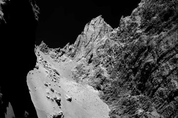 [Science] Cliffs on comet 67P wander across the landscape in summer – AI