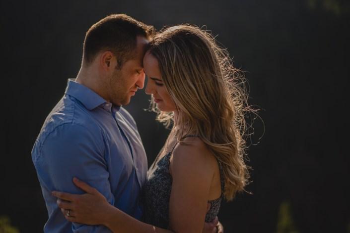 sunset couple engagement