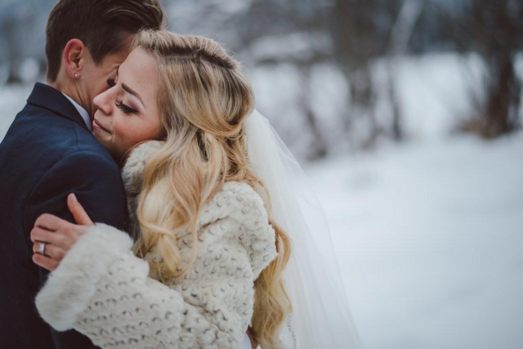 wedding couple embrace