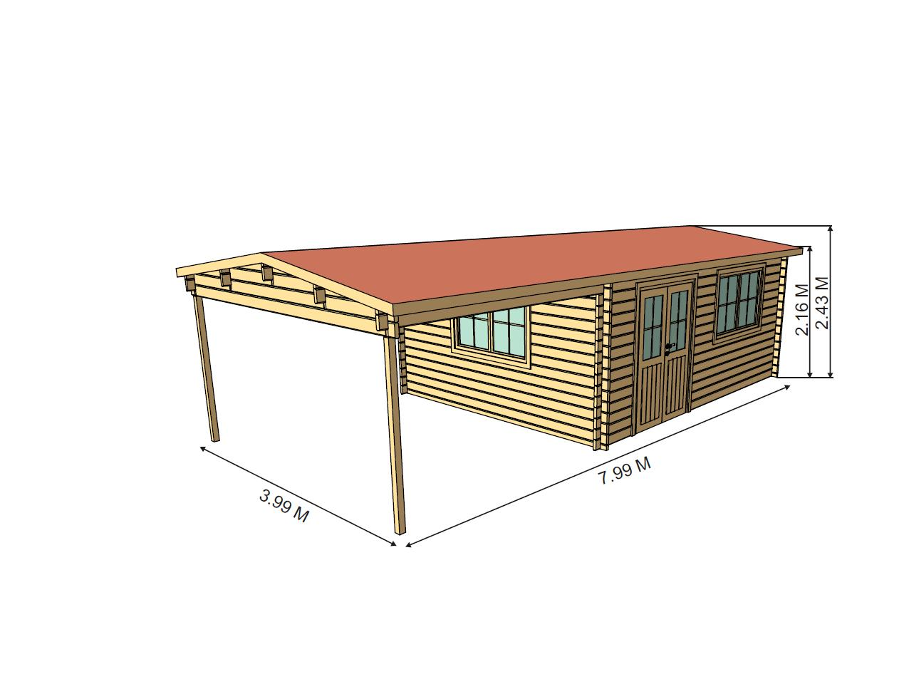 ALICANTE 8 x 4 m 367400  Log Cabins Sheds  Garages