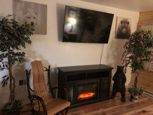"NEW 60"" TV with FREE Wi-Fi & Cabin Fireplace."